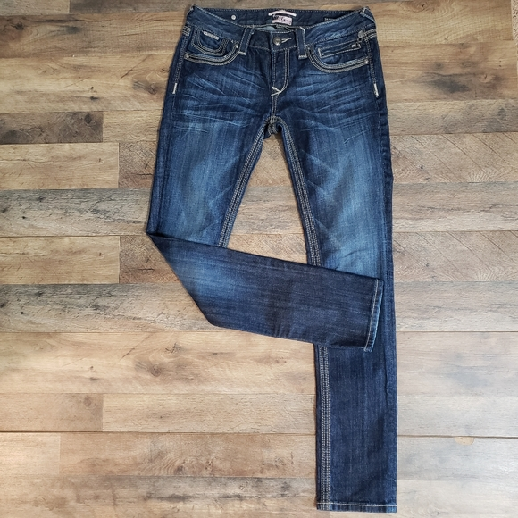 Rerock for Express Skinny Whiskered Faded Jeans